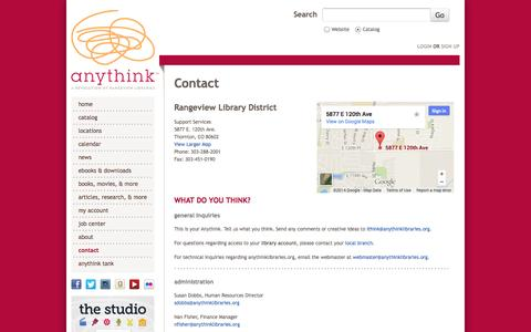 Screenshot of Contact Page anythinklibraries.org - Contact | anythink™ - captured Sept. 24, 2014