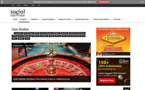 Screenshot of Case Studies Page socialsamosa.com - Social Media Marketing Campaign Case Studies India - captured Oct. 26, 2014