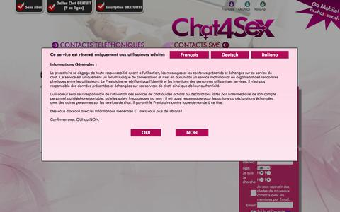 Screenshot of Login Page chat4sex.ch - Chat 4 Sex - captured Nov. 3, 2014