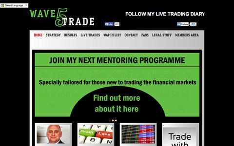 Screenshot of Home Page wave5trade.com - Swing Trade StocksWave5 Trade | Wave5 Trade - captured Oct. 6, 2014
