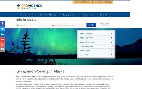 Screenshot of Home Page providence-alaska.jobs - Providence Alaska Jobs - captured Jan. 24, 2017