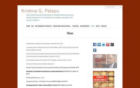 Screenshot of Press Page krishnapalepu.org - News | Krishna Palepu - captured June 5, 2016