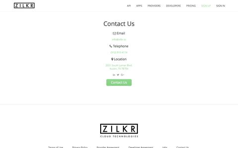 Screenshot of Contact Page zilkr.io - Zilkr Cloud Technologies - Contact Us - captured Aug. 12, 2016