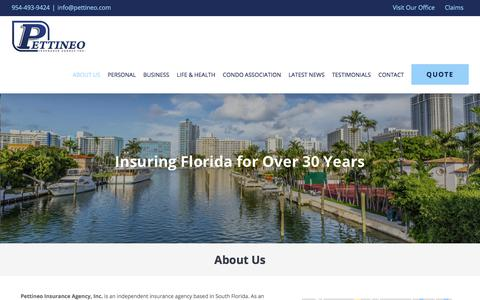 Screenshot of About Page pettineo.com - ABOUT US - Pettineo Insurance Agency Inc. - captured July 29, 2017