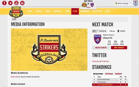 Screenshot of Press Page strikers.com - Media Information   Fort Lauderdale Strikers - captured Feb. 10, 2016