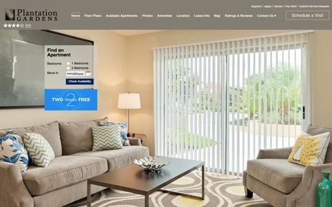 Screenshot of Home Page plantationgardensapartments.com - Plantation Gardens Apartment Homes | Plantation, FL | Home - captured Jan. 29, 2016