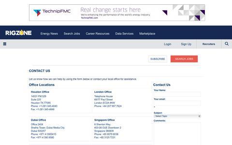 Screenshot of Contact Page rigzone.com - Contact | Rigzone - captured Dec. 19, 2017