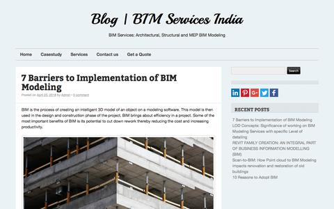 Screenshot of Blog bimservicesindia.com - Blog | BIM Services India - BIM Services: Architectural, Structural and MEP BIM Modeling - captured April 25, 2018