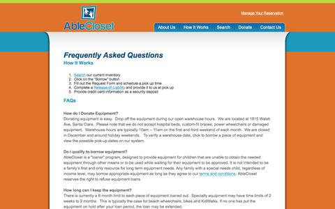 Screenshot of FAQ Page ablecloset.com - FAQ - A Resource for Pediatric Special Needs Equipment in Northern California - captured July 28, 2018