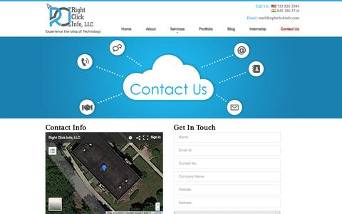 Screenshot of Contact Page rightclickinfo.com - Contact the team at RightClickInfo, LLC in New Jersey & Mumbai - captured Nov. 2, 2014