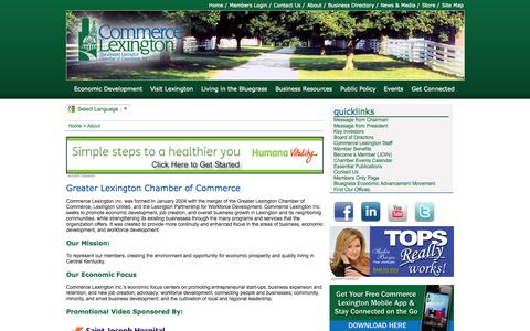 Screenshot of About Page commercelexington.com - Greater Lexington Chamber of Commerce - Greater Lexington Chamber of Commerce, Inc, Lexington, Kentucky - captured Oct. 2, 2014