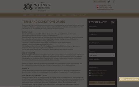 Screenshot of Terms Page thewhiskycorporation.com - Terms and conditions | Whisky Corporation | Fine single malt investment specalists - captured Jan. 30, 2016