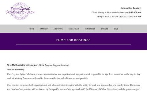Screenshot of Jobs Page fumcb.org - FUMC Job Postings - First United Methodist Church of Bloomington - captured Nov. 25, 2016