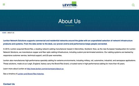 Screenshot of About Page brand-rex.com - About Us | Leviton Network Solutions Europe - captured Nov. 6, 2018