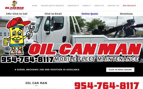 Screenshot of Jobs Page oilcanman.com - 954-764-8117 Mobile Diesel Mechanic Jobs South Florida - captured Nov. 15, 2017