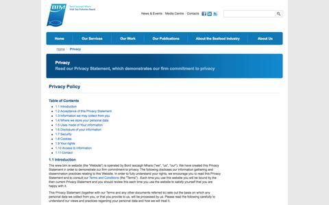 Screenshot of Privacy Page bim.ie - Privacy - Bord Iascaigh Mhara - captured Oct. 5, 2014