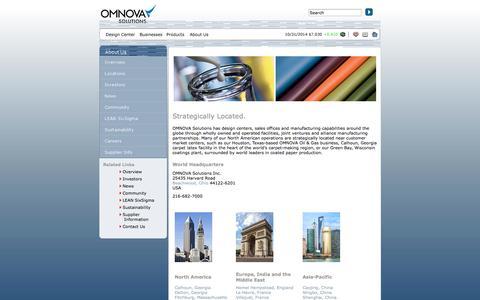Screenshot of Locations Page omnova.com - OMNOVA Solutions Locations - captured Nov. 3, 2014