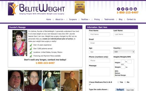 Screenshot of Pricing Page beliteweight.com - Request a Quote for Affordable Weight Loss Solution | Beliteweight - captured Sept. 19, 2014