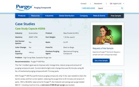 Screenshot of Case Studies Page purgexonline.com - Purging Compound Case Studies - Purgex - captured Oct. 3, 2014