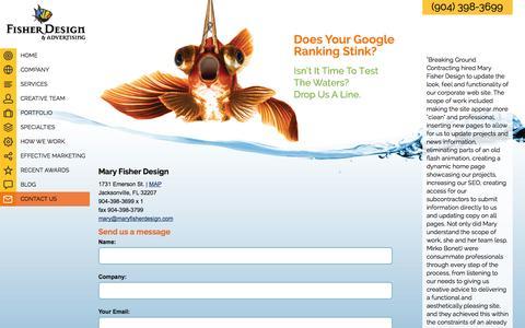 Screenshot of Contact Page maryfisherdesign.com - Jacksonville Florida advertising agency website design, graphic design, PR, 904-398-3699 - captured Oct. 29, 2014