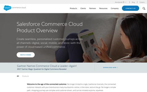 Screenshot of Products Page demandware.com - Unified Commerce Products & Solutions | Demandware - captured Aug. 29, 2017