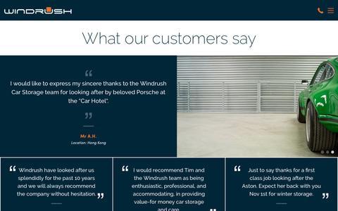 Screenshot of Testimonials Page windrushcarstorage.co.uk - Car Storage Testimonials | Windrush Car Storage - captured Oct. 18, 2018