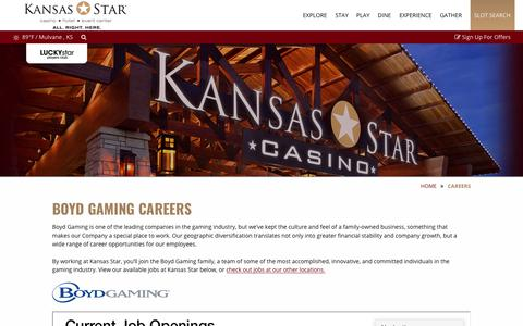 Screenshot of Jobs Page kansasstarcasino.com - Start Your Career with Boyd Gaming! - captured Sept. 20, 2018
