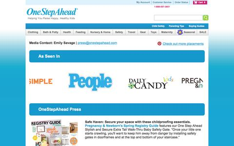 Screenshot of Press Page onestepahead.com - Press Room from One Step Ahead - captured Sept. 22, 2014