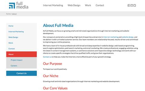 Screenshot of About Page fullmedia.com - Internet marketing and website design company | Full Media - captured June 3, 2018