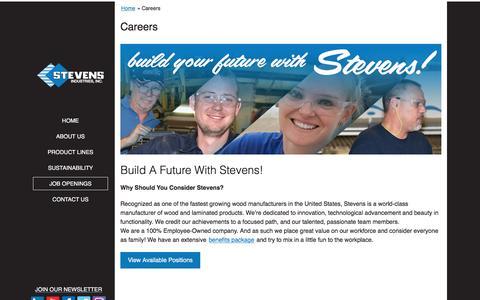 Screenshot of Jobs Page stevensind.com - Careers | Stevens Industries, Inc. - captured Oct. 25, 2017
