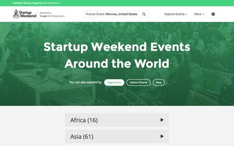 Screenshot of Locations Page startupweekend.org - Startup Weekend - Learn, Network, Startup - captured Nov. 18, 2015
