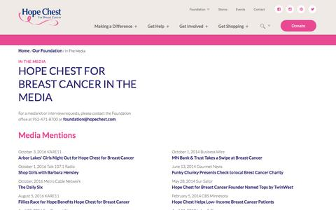 Screenshot of Press Page hopechest.com - In The Media   Hope Chest For Breast Cancer - captured Sept. 3, 2017