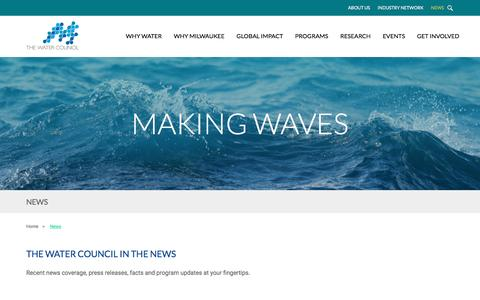 Screenshot of Press Page thewatercouncil.com - News – The Water Council - captured May 10, 2017