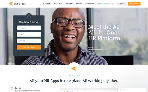 Screenshot of Home Page zenefits.com - Zenefits: Online HR Software | Payroll | Benefits - All-In-One - captured Oct. 18, 2016