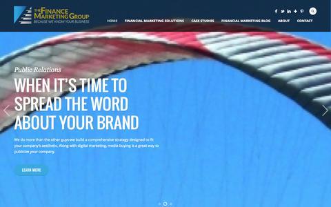 Screenshot of Home Page financemarketing.com - Digital Marketing Agency - The Finance Marketing Group - captured Oct. 5, 2014