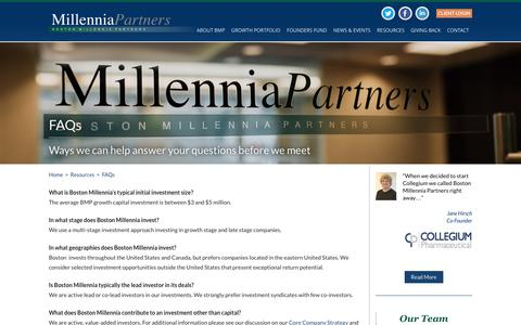 Screenshot of FAQ Page bostonmillenniapartners.com - FAQs | Boston Millennia Partners - captured July 30, 2016