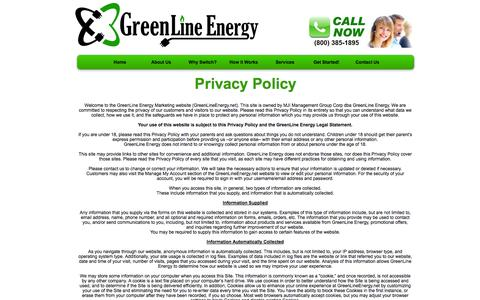 Screenshot of Privacy Page greenlineenergy.com - Privacy Policy | GreenLine Energy - captured Sept. 30, 2014