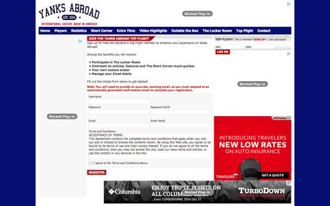 Screenshot of Signup Page yanks-abroad.com - .:: The Locker Room Yanks Abroad ::. - captured Oct. 30, 2014