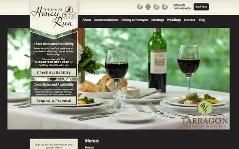 Screenshot of Menu Page innathoneyrun.com - Tarragon Breakfast, Lunch, Dinner Menus at The Inn at Honey Run - captured Feb. 22, 2016