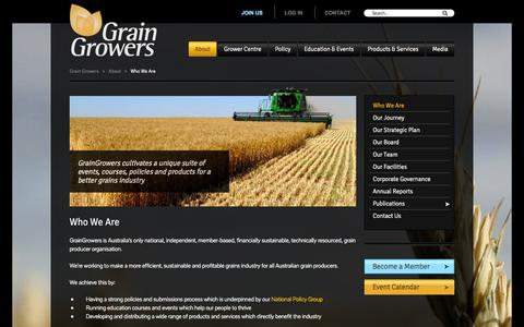 Screenshot of About Page graingrowers.com.au - GrainGrowers - Who We Are - captured Oct. 3, 2014