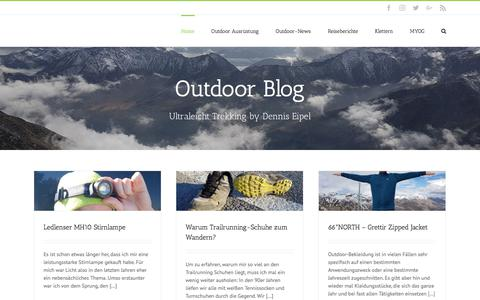 Screenshot of Home Page outdoor-blog.com - Outdoor Blog | Ultraleicht Trekking, Ausrüstung, Tests & Reviews - captured May 2, 2018