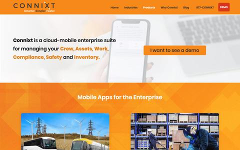 Screenshot of Products Page connixt.com - Products - captured Nov. 1, 2018