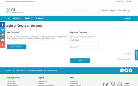 Screenshot of Login Page bioind.com - Customer Login - captured Nov. 22, 2016