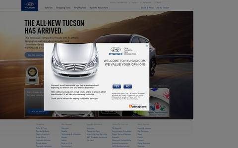 Screenshot of Home Page hyundaiusa.com - Hyundai Cars, Sedans, SUVs, Compacts, and Luxury | Hyundai - captured Sept. 7, 2015