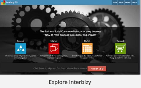 Screenshot of Home Page interbizy.com - Interbizy - The B2B Social Commerce Platform for every business - captured Sept. 30, 2014