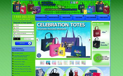 Screenshot of Home Page customgreenpromos.com - Recycled Shopping Bags   Reusable Green Bags   Custom Green Promos - captured Oct. 3, 2014