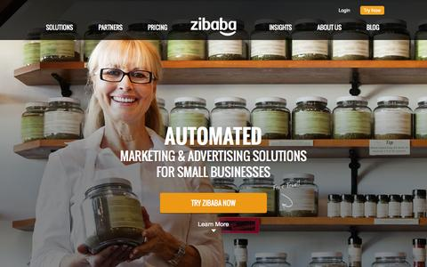Screenshot of Home Page zibaba.com - Zibaba | Automated Marketing & Advertising Solutions for Small Businesses - captured Sept. 19, 2014