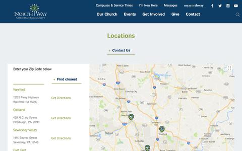 Screenshot of Locations Page northway.org - Find a church in Pittsburgh, PA, Pennsylvania - captured Oct. 23, 2017