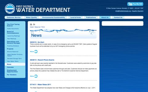 Screenshot of Press Page firstdistrictwater.org - First District Water - News - captured May 11, 2016