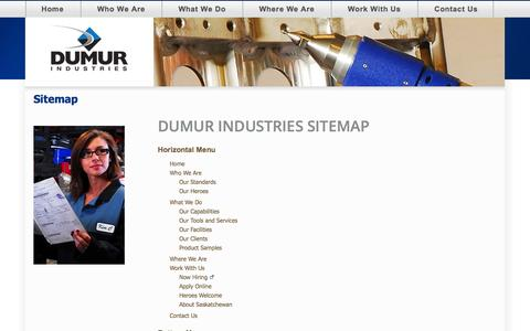 Screenshot of Site Map Page dumurindustries.com - Dumur Site Map - captured Sept. 30, 2014
